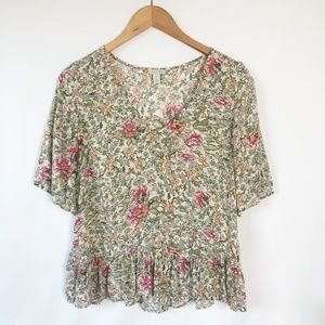 Hinge Tops | Loose Floral w/ Ruffled Detail Top XS
